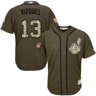 Cleveland Indians #13 Omar Vizquel Green Salute to Service Stitched MLB Jersey