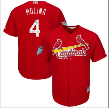 Men's St. Louis Cardinals #4 Yadier Molina Majestic Scarlet 2018 Spring Training Authentic CoolBase Player Jersey