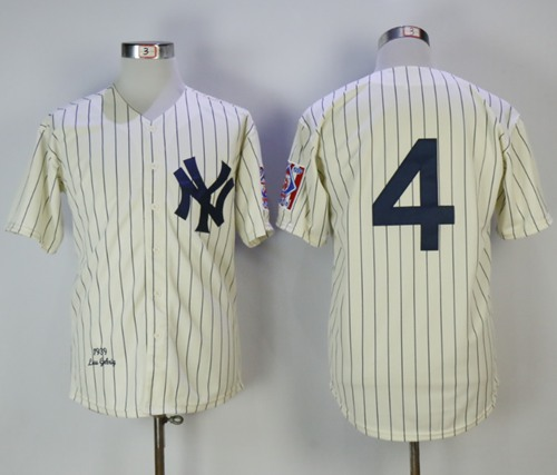 Mitchell And Ness 1939 New York Yankees #4 Lou Gehrig Cream Throwback Stitched MLB Jersey