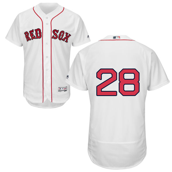 Boston Red Sox #28 J. D. Martinez White Flexbase Authentic Collection Stitched MLB Jersey