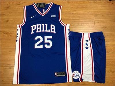 Nike Philadelphia 76ers #25 Ben Simmons Blue Swingman Jersey(With Shorts)