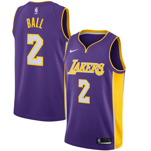 Nike Los Angeles Lakers #2 Lonzo Ball Purple NBA Swingman Statement Edition Jersey