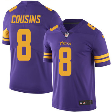 Nike Minnesota Vikings #8 Kirk Cousins Purple Men's Stitched NFL Limited Rush Jersey