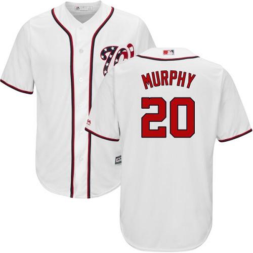 Men's Washington Nationals #20 Daniel Murphy White New Cool Base Stitched MLB Jersey