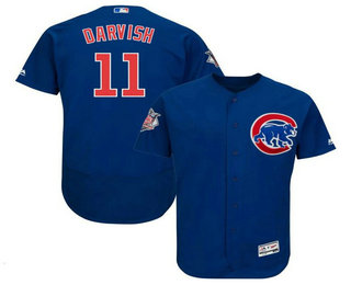 Men's Chicago Cubs #11 Yu Darvish Royal Blue Stitched MLB Flex Base Jersey