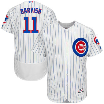 Men's Chicago Cubs #11 Yu Darvish White Authentic Collection Flex Base Player  Jersey
