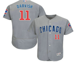Men's Chicago Cubs #11 Yu Darvish Grey Road Stitched MLB Flex Base Jersey