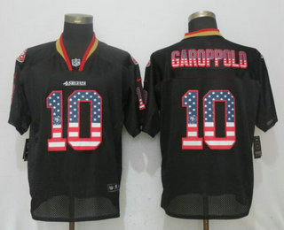 Men's San Francisco 49ers #10 Jimmy Garoppolo Black USA Flag Fashion Stitched NFL Nike Elite Jersey