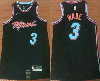 Men's Miami Heat #3 Dwyane Wade Black Nike NBA Swingman City Edition Jersey