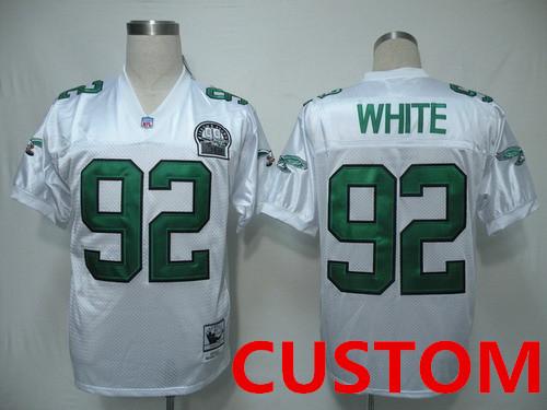 Custom Philadelphia Eagles White Throwback 99TH Jersey
