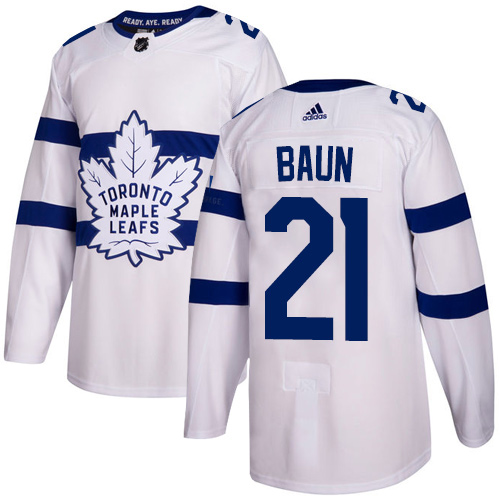 Adidas Toronto Maple Leafs #21 Bobby Baun White Authentic 2018 Stadium Series Stitched NHL Jersey