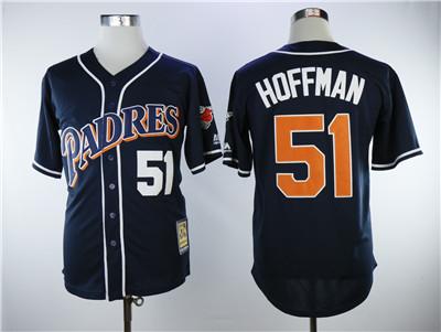 Men's San Diego Padres #51 Trevor Hoffman Navy Blue Throwback Stitched MLB Jersey