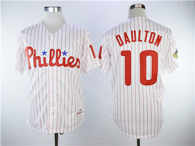 Men's Philadelphia Phillies #10 Darren Daulton White(Red Strip) New Cool Base Stitched MLB Jersey