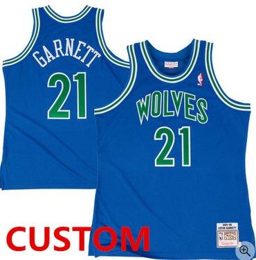Custom Mitchell & Ness Minnesota Timberwolves Royal 1995-96 Hardwood Classic Authentic Jersey