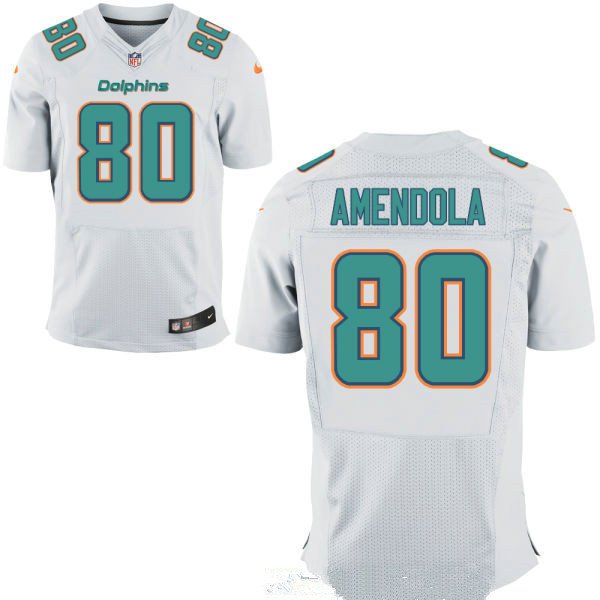 Men's Miami Dolphins #80 Danny Amendola White Road Stitched NFL Nike Elite Jersey