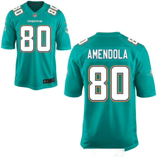 Men's Miami Dolphins #80 Danny Amendola Green Team Color Stitched NFL Nike Game Jersey