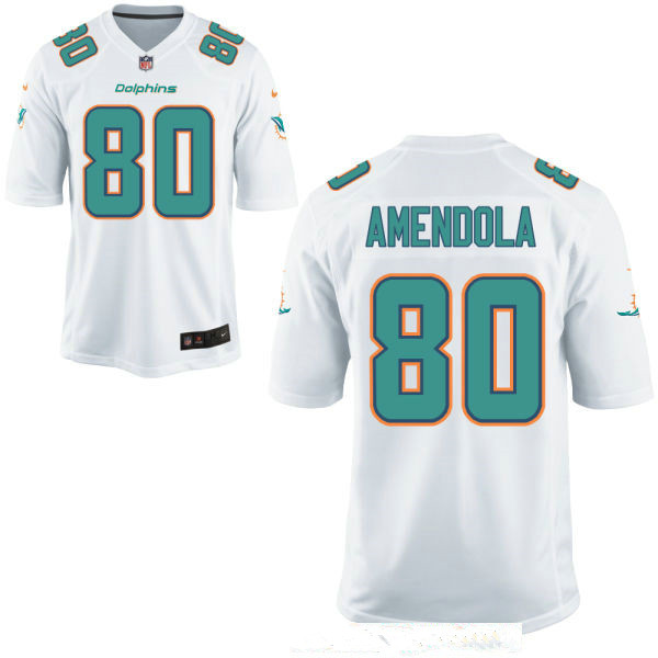 Men's Miami Dolphins #80 Danny Amendola White Road Stitched NFL Nike Game Jersey