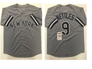 New York Yankees #9 Graig Nettles Grey Baseball Jersey