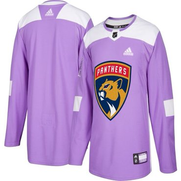 Men's Florida Panthers Purple Pink Custom Adidas Hockey Fights Cancer Practice Jersey