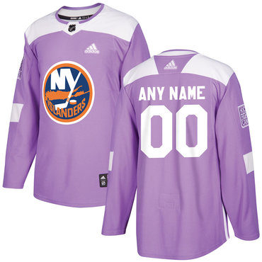 Men's New York Islanders Purple Pink Custom Adidas Hockey Fights Cancer Practice Jersey