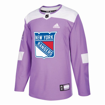 Men's New York Rangers Purple Pink Custom Adidas Hockey Fights Cancer Practice Jersey