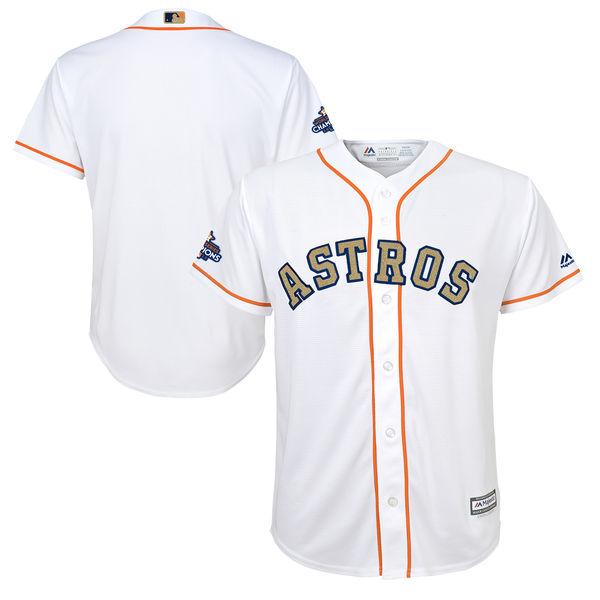 Men's Houston Astros Blank White 2018 Gold Program Cool Base Stitched MLB Jersey