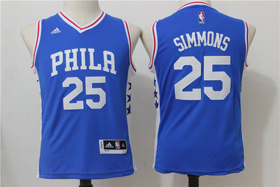 Youth Philadelphia 76ers #25 Ben Simmons NEW Blue Stitched NBA Adidas Swingman Jersey