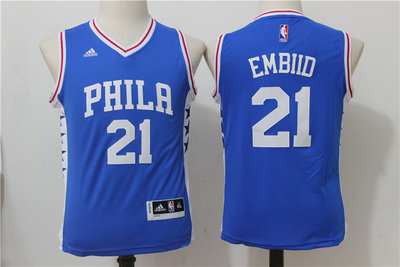 Youth Philadelphia 76ers #21 Joel Embiid NEW White Stitched NBA Adidas Swingman Jersey