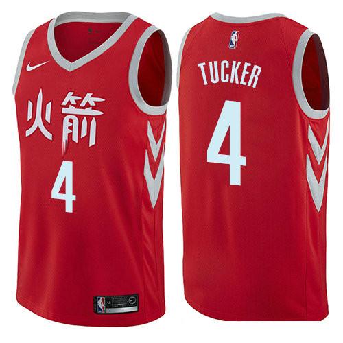 Houston Rockets #4 PJ Tucker Red Nike NBA Men's Stitched Swingman Jersey City Edition