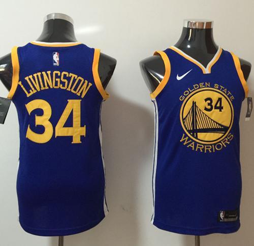 Nike Golden State Warriors #34 Shaun Livingston Blue NBA Swingman Icon Edition Jersey