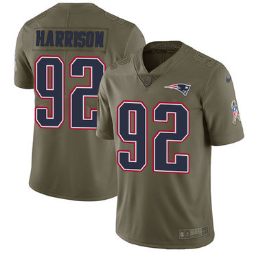 Nike New England Patriots #92 James Harrison Olive Stitched NFL Limited 2017 Salute to Service Jersey