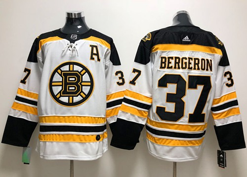 Adidas Boston Bruins #37 Patrice Bergeron White Road Authentic Stitched NHL Jersey