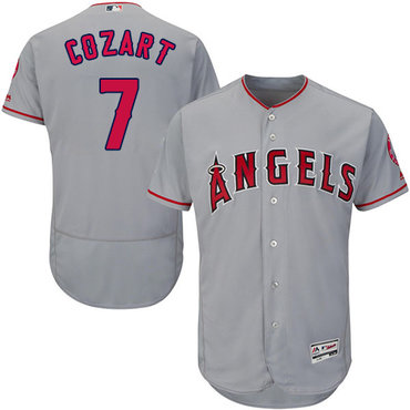 LA Angels of Anaheim #7 Zack Cozart Grey Flexbase Authentic Collection Stitched MLB Jersey
