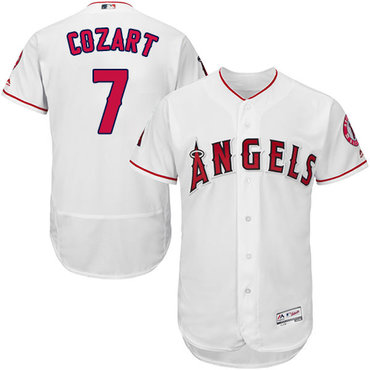 LA Angels of Anaheim #7 Zack Cozart White Flexbase Authentic Collection Stitched MLB Jersey