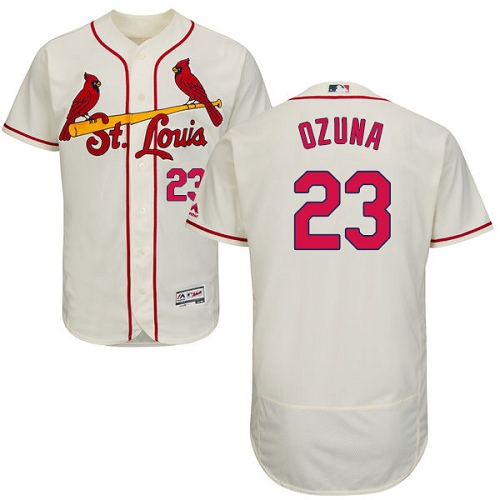 St. Louis Cardinals #23 Marcell Ozuna Cream Flexbase Authentic Collection Stitched MLB Jersey