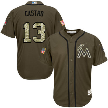 Miami marlins #13 Starlin Castro Green Salute to Service Stitched MLB Jersey