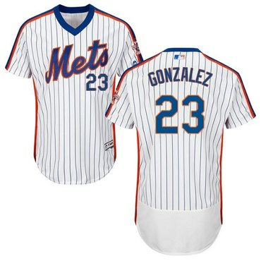 New York Mets #23 Adrian Gonzalez White(Blue Strip) Flexbase Authentic Collection Alternate Stitched MLB Jersey