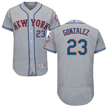New York Mets #23 Adrian Gonzalez Grey Flexbase Authentic Collection Stitched MLB Jersey