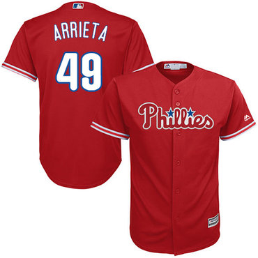 Philadelphia Phillies #49 Jake Arrieta Red New Cool Base Stitched MLB Jersey
