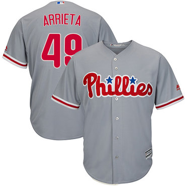 Philadelphia Phillies #49 Jake Arrieta Grey New Cool Base Stitched MLB Jersey
