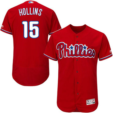Philadelphia Phillies #15 Dave Hollins Red Flexbase Authentic Collection Stitched MLB Jersey