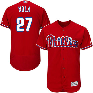 Philadelphia Phillies #27 Aaron Nola Red Flexbase Authentic Collection Stitched MLB Jersey