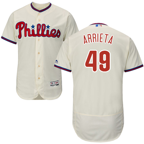 Philadelphia Phillies #49 Jake Arrieta Cream Flexbase Authentic Collection Stitched MLB Jersey