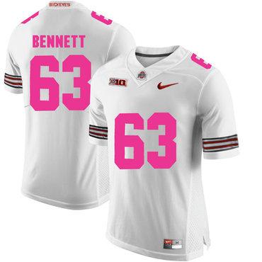 Ohio State Buckeyes 63 Michael Bennett White 2018 Breast Cancer Awareness College Football Jersey
