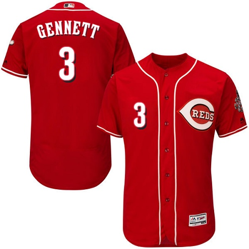 Cincinnati Reds #3 Scooter Gennett Red Flexbase Authentic Collection Stitched MLB Jersey