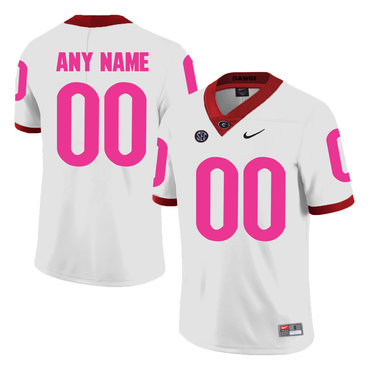 Georgia Bulldogs White Customized Breast Cancer Awareness College Football Jersey