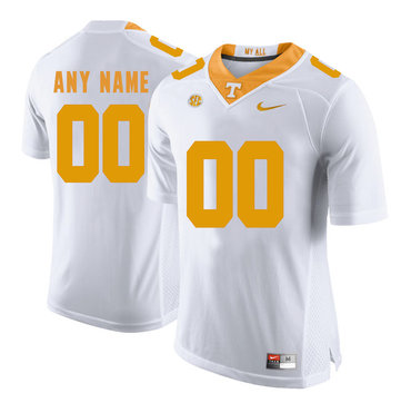 Tennessee Volunteers White Men's Customized College Football Jersey
