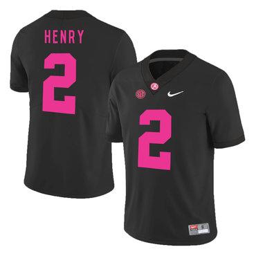 Alabama Crimson Tide 2 Derrick Henry Black 2017 Breast Cancer Awareness College Football Jersey