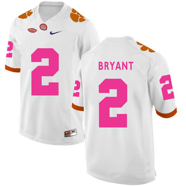 Clemson Tigers 2 Kelly Bryant White Breast Cancer Awareness College Football Jersey