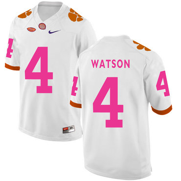 Clemson Tigers 4 Deshaun Watson White Breast Cancer Awareness College Football Jersey